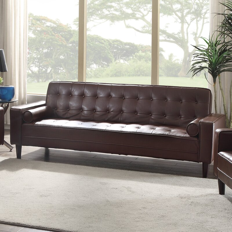 Navi Faux Leather Sleeper Sofa