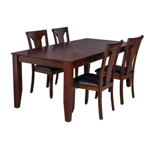 Charlotte 5 Piece Solid Wood Dining Set ByTTP Furnish