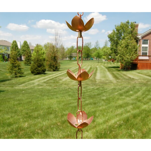 Easy to Hang Gutter Reducer Pure Copper Flowerama Rain Chain 8.5ft