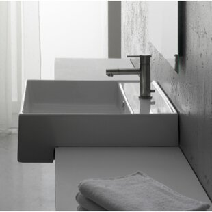 Find Teorema Ceramic Square Vessel Bathroom Sink with Overflow ByScarabeo by Nameeks