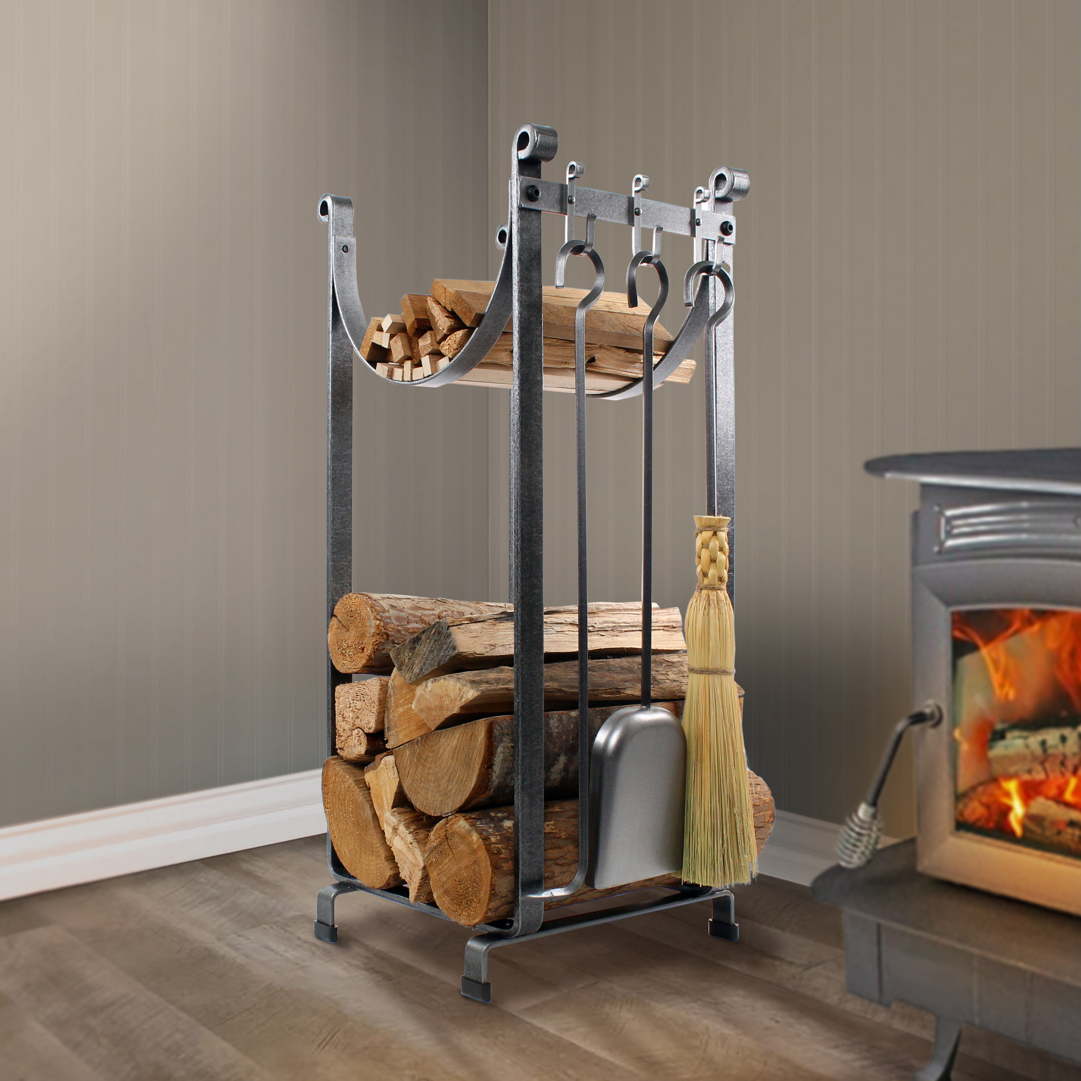 Steel Fireplace Tool Set With Log Rack