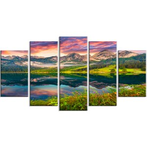 'Sunrise over Vorderer Gosausee Lake' 5 Piece Photographic Print on Wrapped Canvas Set by Design Art