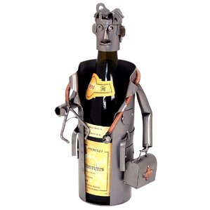 Male Doctor 1 Bottle Tabletop Wine Rack by H & K SCULPTURES