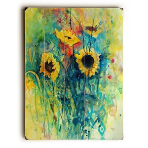 Watercolor Sunflowers Painting Print by Latitude Run