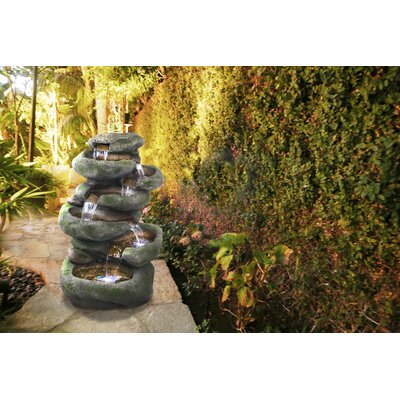 Image of Fiberglass and Resin Rainforest Rock Cascading Fountain with Light Alpine