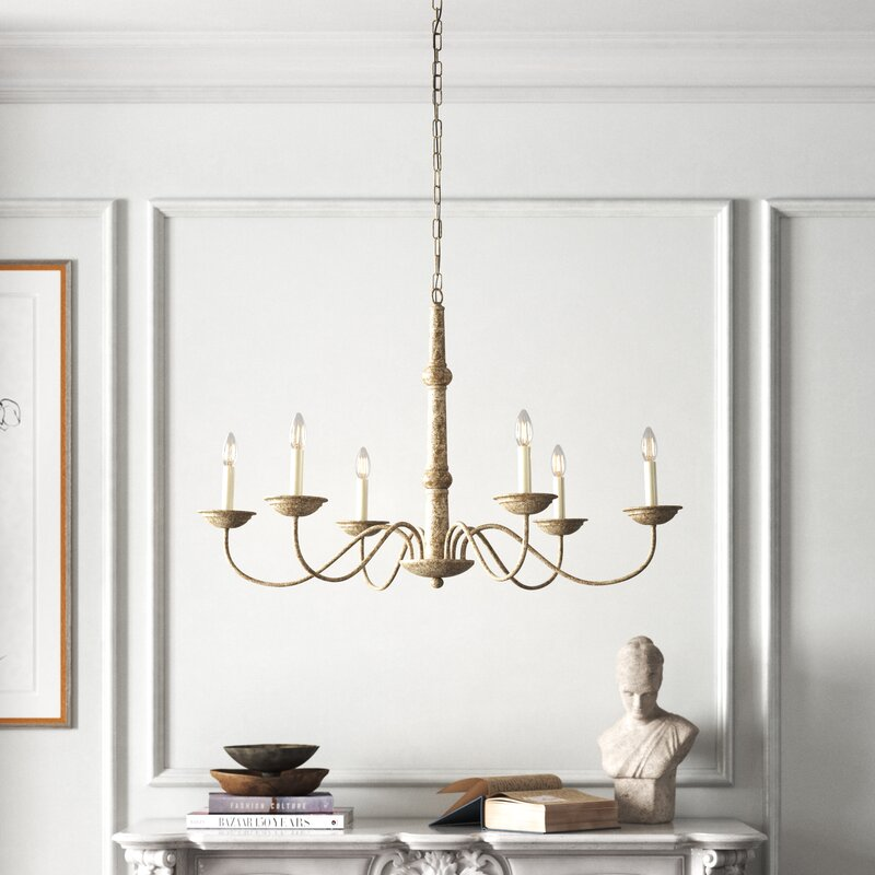 6 - Light Candle Style Traditional Chandelier. See more lovely French inspired decor and furniture from Kelly Clarkson's collaboration with Wayfair in this story! #kellyclarksonhome #frenchcountry #lighting #chandelier #frenchchandelier