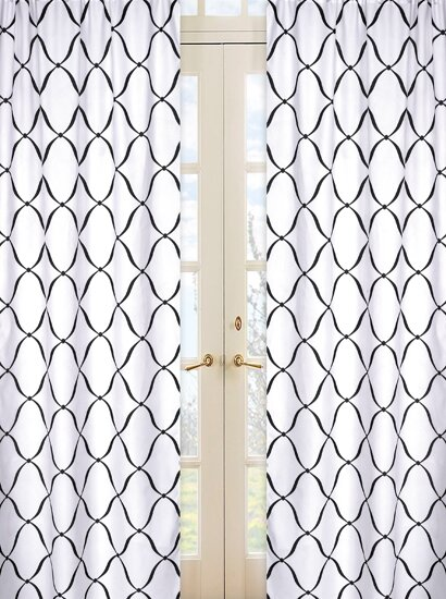 Princess Geometric Semi-Sheer Rod pocket Curtain Panels