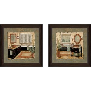 Ebony Bath' 2 Piece Framed Acrylic Painting Print Set Under Glass by Charlton Home