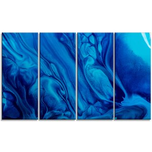 'Dark Blue Abstract Acrylic Paint Mix' 4 Piece Graphic Art on Wrapped Canvas Set by Design Art