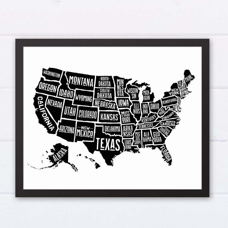 Wrought studio simple united states world map framed graphic art simple united states world map framed graphic art print gumiabroncs Image collections
