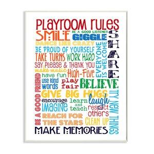 Jasper Rainbow Playroom Rules Smile Textual Art Wall Plaque