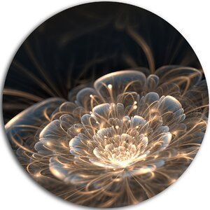 'Fractal Flower with Golden Rays' Graphic Art Print on Metal by Design Art