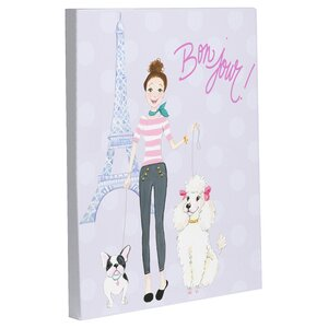 Bonjour Eiffel Tower Poodle by April Heather Graphic Art on Wrapped Canvas by One Bella Casa