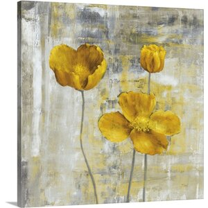 'Yellow Flowers II' Painting Print on Canvas by Three Posts