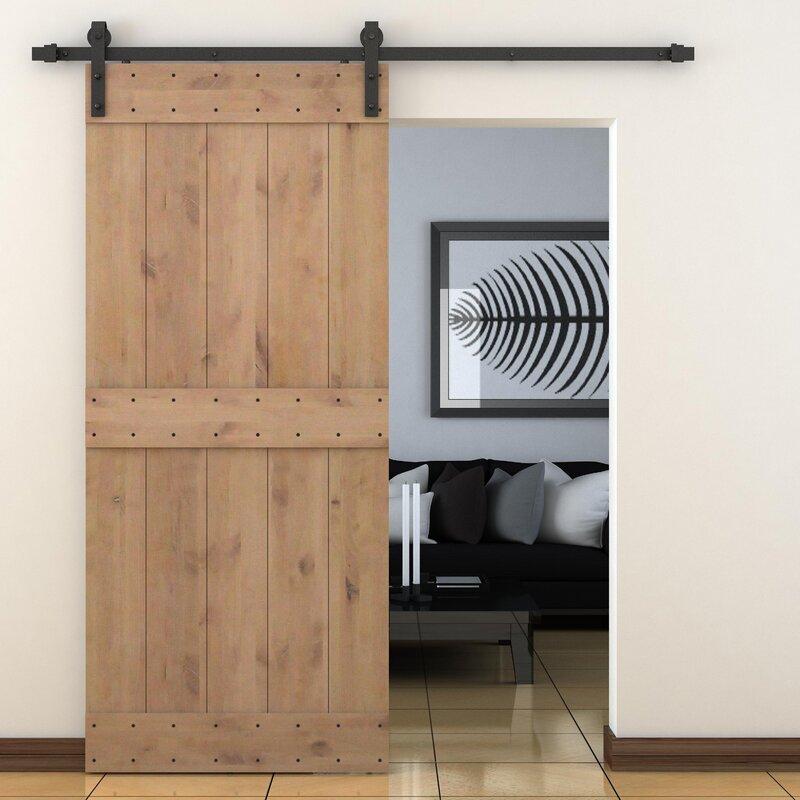 Vertical Slat Primed Sliding Knotty Solid Wood Panelled Alder Slab Interior Barn Door