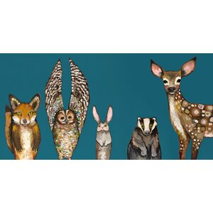 Forest Animals - Teal by Eli Halpin Framed Painting Print on Wrapped Canvas by GreenBox Art