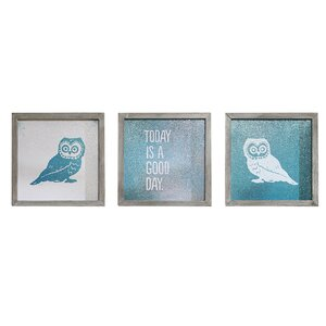 'Wise As An Owl' Framed 3 Piece Set on Paper by Viv + Rae