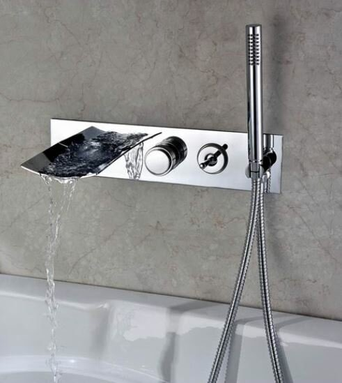 Sumerain Double Handle Wall Mount Waterfall Tub Faucet with ...