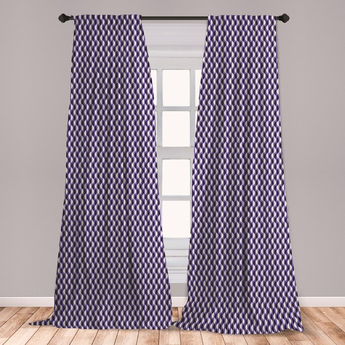 Ambesonne Geometric Curtains Half Circles Pattern Vertical Design Elements Window Treatments 2 Panel Set For Living Room Bedroom