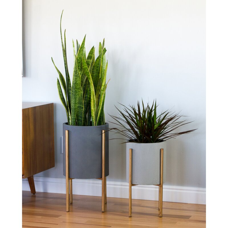 Cipolla Mid-Century 2-Piece Aluminum Pot Planter Set