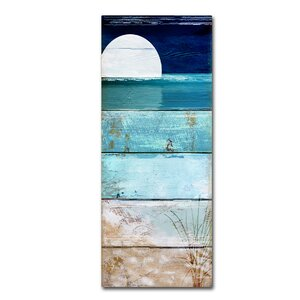 'Beach Moonrise I' by Color Bakery Painting Print on Wrapped Canvas by Trademark Fine Art
