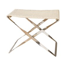 Woven Cowhide Leather Folding Bench by Global Views