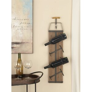 Wood/Metal 4 Bottle Wall Mounted Wine Rack by Cole & Grey