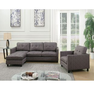 Ceasar Sectional Sofa In Gray Fabric by Latitude Run®