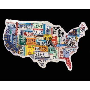 'USA License Map' by Brady Barker Textual Art on Wrapped Canvas by Portfolio Canvas Decor