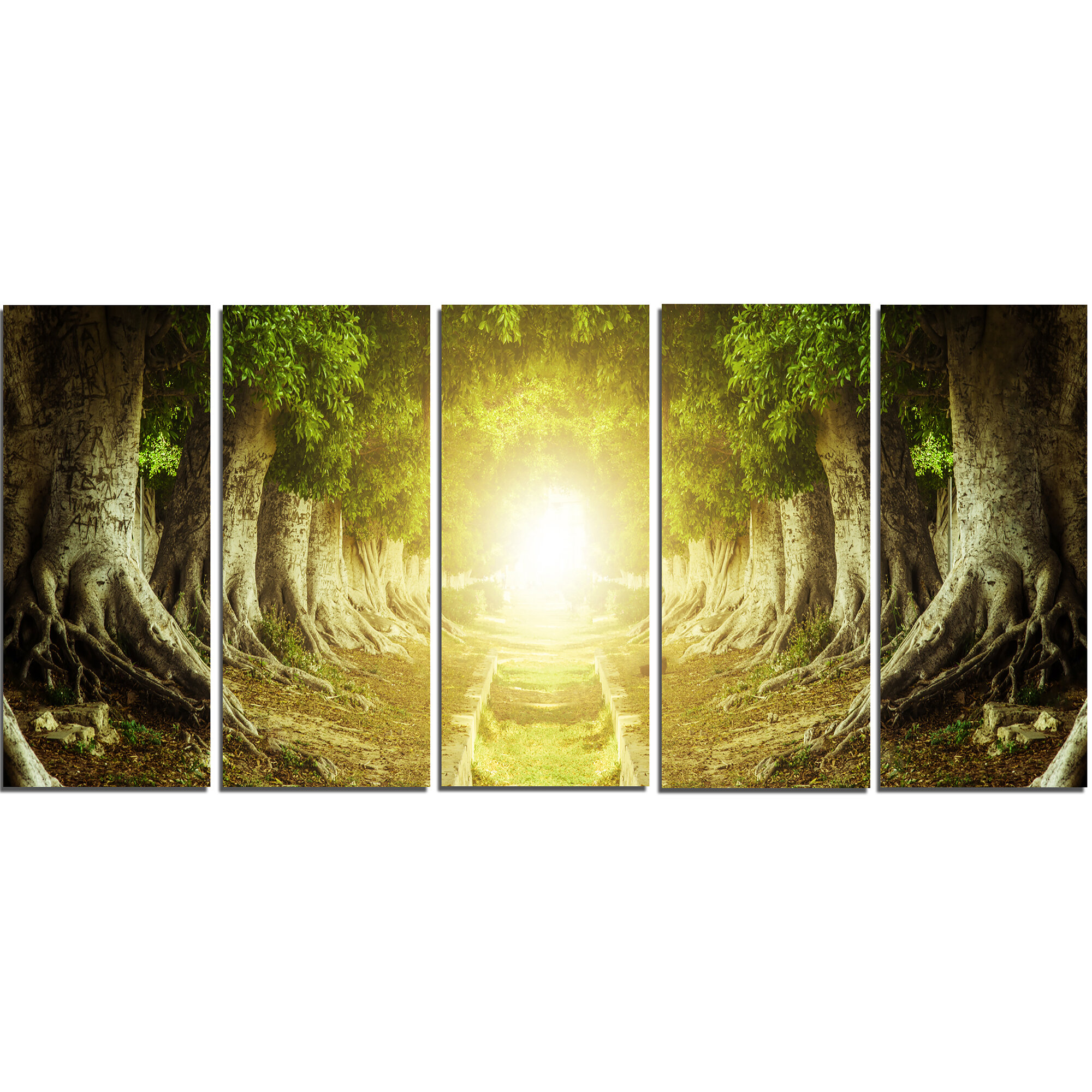 DesignArt Green Tree Tunnel 5 Piece Wall Art on Wrapped Canvas Set ...