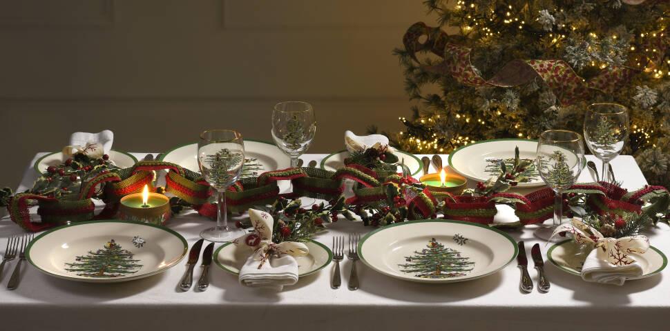 Spode Christmas Tree.Christmas Tree Ribbon Dessert Plate