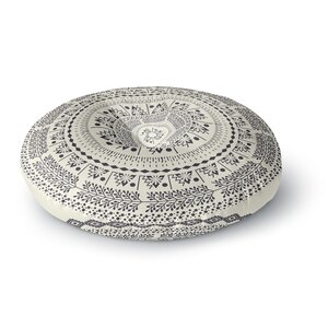 Famenxt Swadesi Boho Mandala Illustration Round Floor Pillow