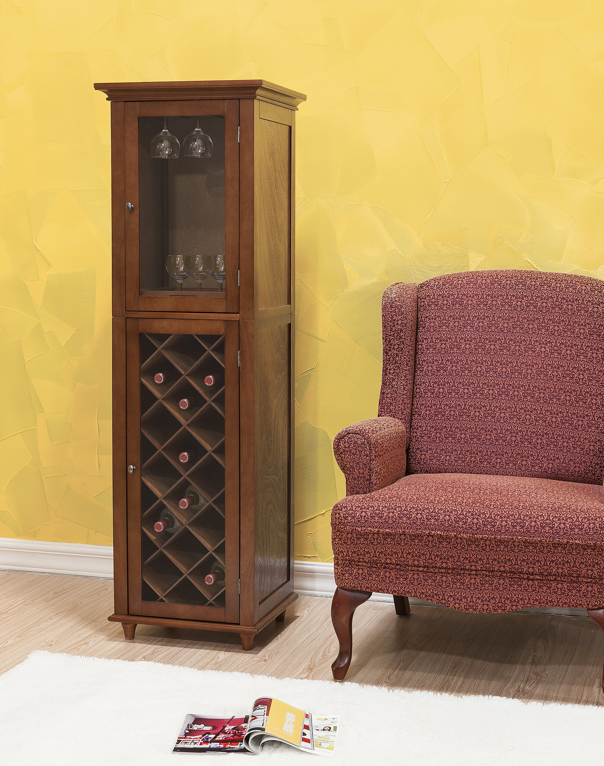 grover shipping furniture free overstock garden brown of today america rustic home multi cherry wine storage product cabinet