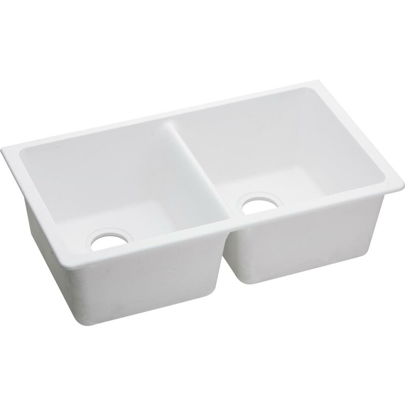 quartz classic 33   x 19   double basin undermount kitchen sink elkay quartz classic 33   x 19   double basin undermount kitchen      rh   wayfair com