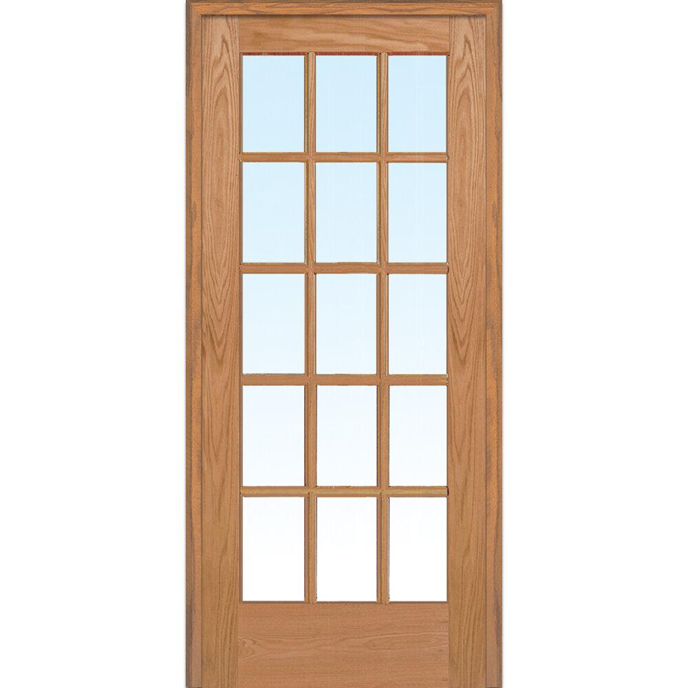 Verona Home Design Wood 1 Panel Red Oak Interior French Door Wayfair