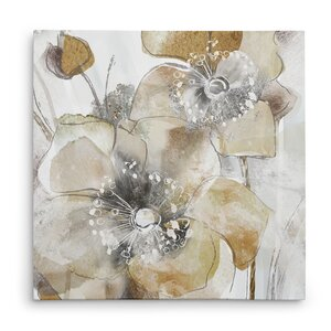 'Taupe Spring Poppy II' Oil Painting Print on Wrapped Canvas by Winston Porter