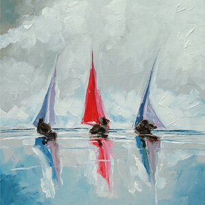 Three Boats Painting Print on Wrapped Canvas by Breakwater Bay