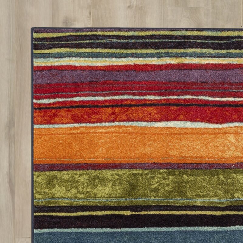 Andover Mills SantaMarina Striped Tufted Blue/Orange/Green Area