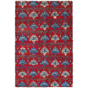 Rajani Hand-Knotted Silk Red Area Rug by LR Resources