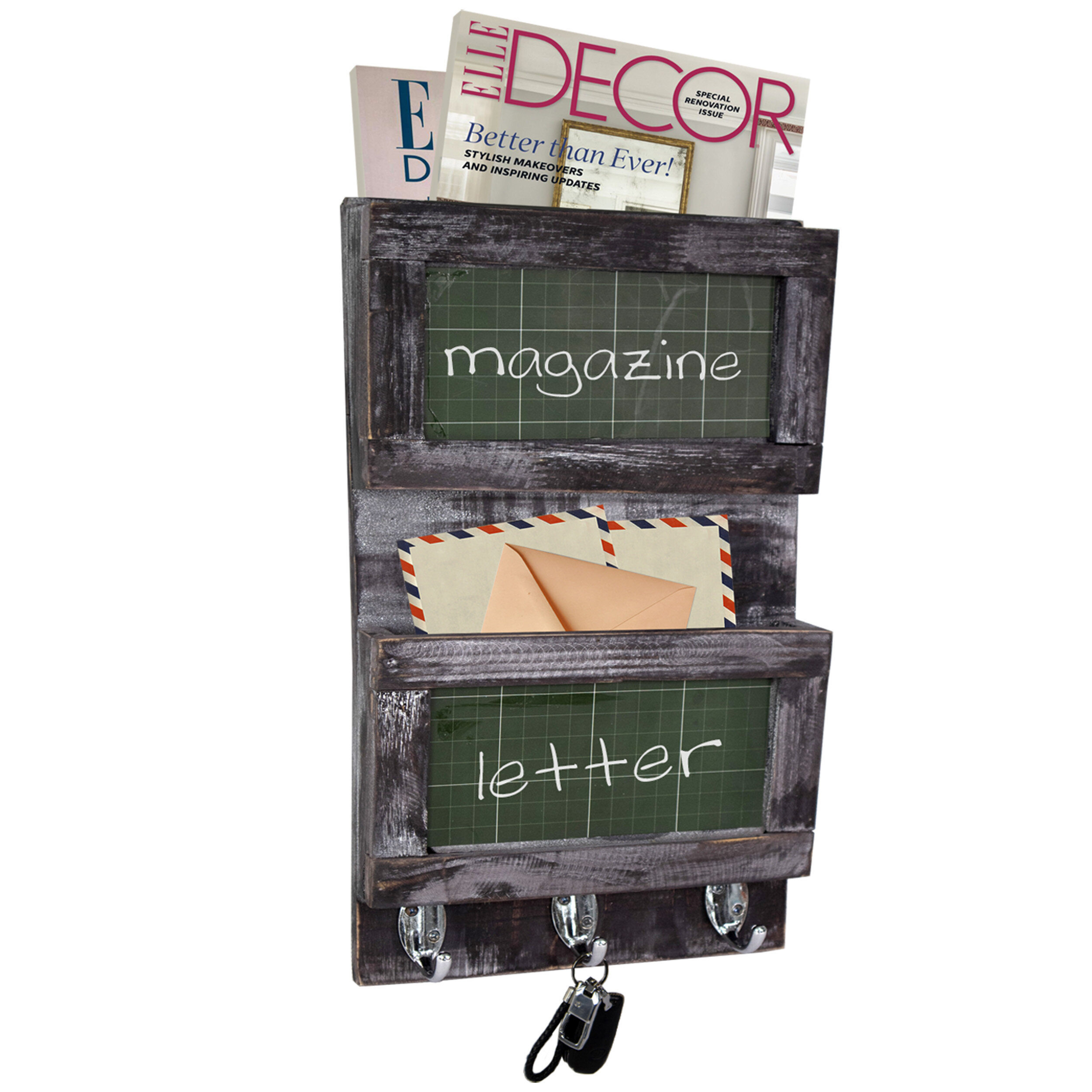 Gracie Oaks Bradyn Wall Mail Organizer With Chalkboard Wayfair Ca