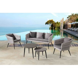Ayden 5 Piece Rattan Sofa Seating Group with Cushions By Corrigan Studio