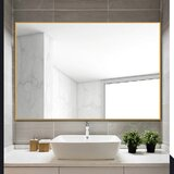 Eline Rectangular Thin Modern and Contemporary Bathroom Mirror by Ivy Bronx