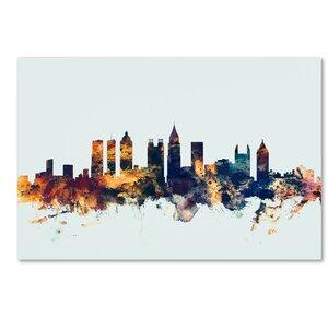 'Atlanta Georgia Skyline Blue' Graphic Art on Wrapped Canvas by Ivy Bronx