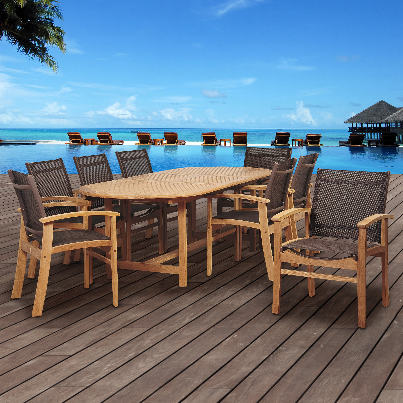 Beachcrest Home Hillsford 9 Piece Teak Dining Set   Wayfair
