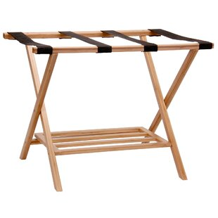 Bamboo Luggage Rack with Tray By Household Essentials
