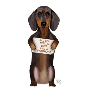 'All You Need is Love Series: Dachshund' Graphic Art Print on Canvas by East Urban Home