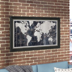 Antiqued World Map' Framed Graphic Art on Wrapped Canvas by Mercury Row