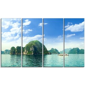 'Halong Bay in Vietnam' 4 Piece Photographic Print on Wrapped Canvas Set by Design Art