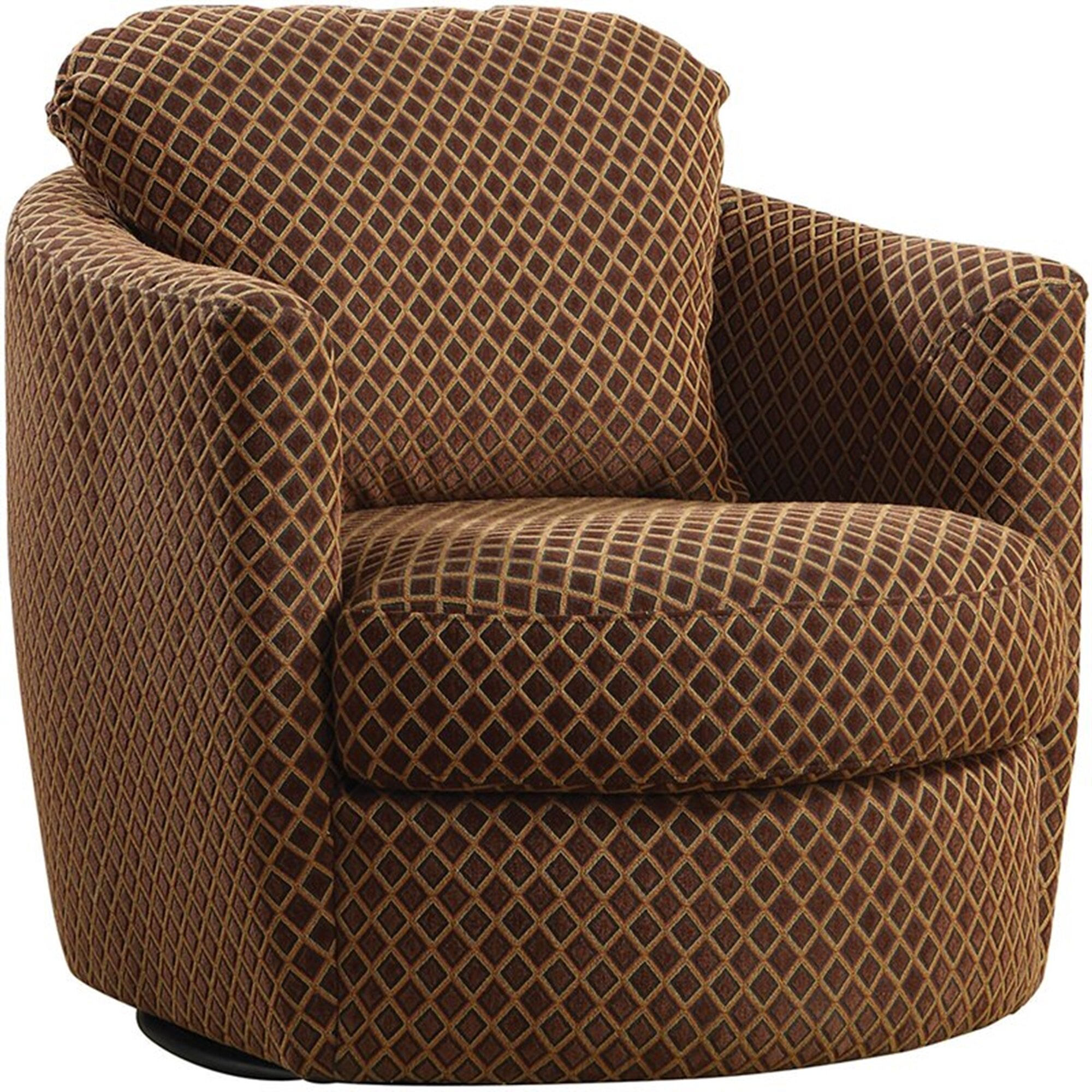 Jamie Lee Diamond Patterned Upholstered Round Swivel Barrel Chair