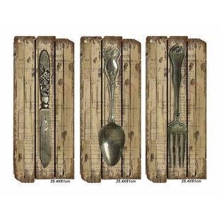 Good 3 Piece Fork Spoon Knife Wall Décor Set